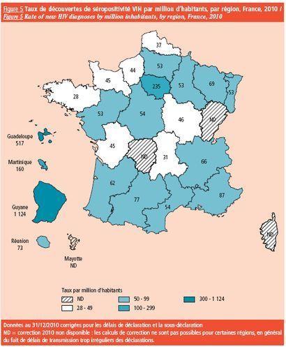 Taux de découvertes de séropositivité VIH par million d'habitants par région en 2010