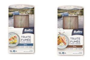 Rappel de filets de truite fumée au poivre et nature de la marque Baltic