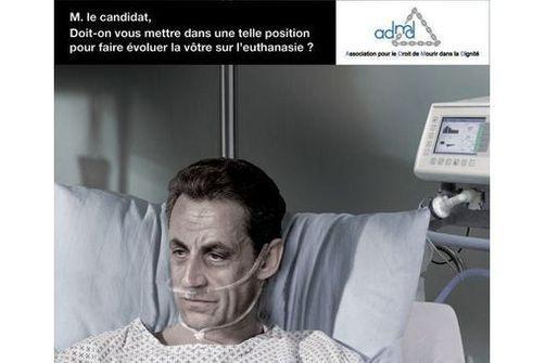 Photo de Nicolas Sarkozy détournée par l'ADMD