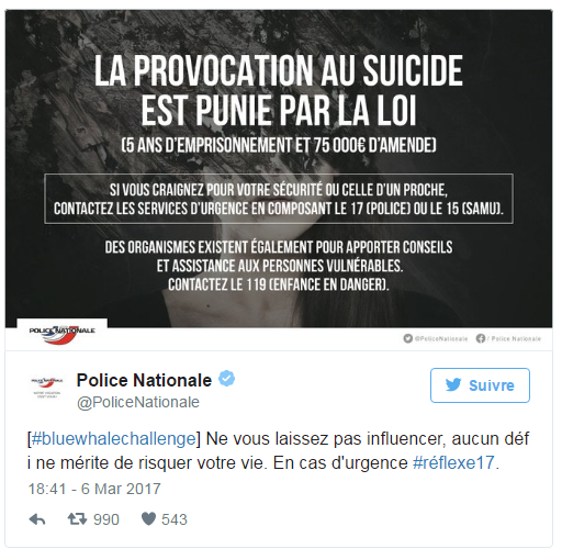 blue whale challenge message police nationale