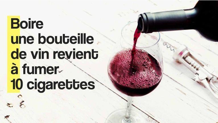 Boire une bouteille de vin revient à fumer 10 cigarettes