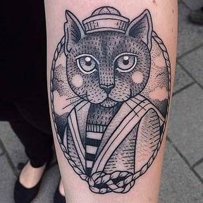 Tatouage chat moussaillon