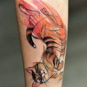 Tatouage chat tigré