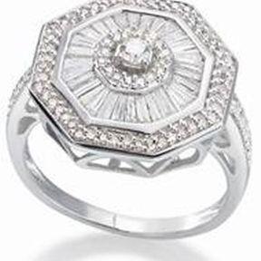 Bague de fiançailles or blanc  et diamants H.Gringoire
