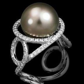Bague de fiançailles or blanc et perle Lorenz Bäumer