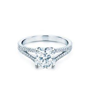 Bague de fiançailles or blanc Tiffany