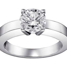Bague fiançailles platine et diamants Cartier