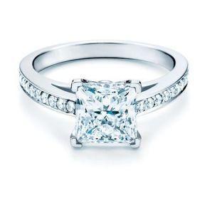 Bagues de fiançailles or blanc et diamants Tiffany