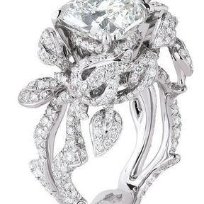 Bagues fiançailles or gris et diamants Dior