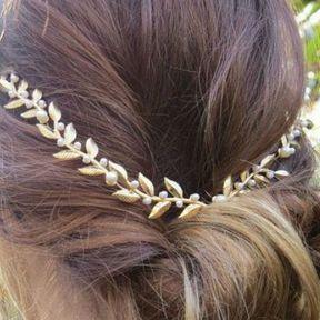 Bijou de cheveux feuilles dorées