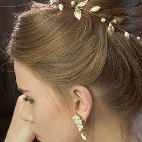 Bijou de cheveux feuilles or