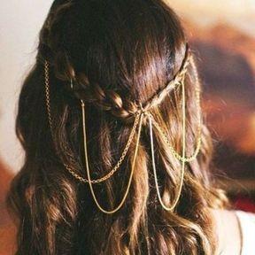 Bijou de cheveux fils dorés