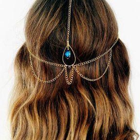 Bijou de cheveux or et strass bleu