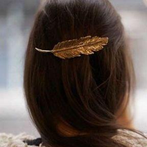 Bijou de cheveux plume or