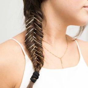 Tresse fishtail avec bobby pins