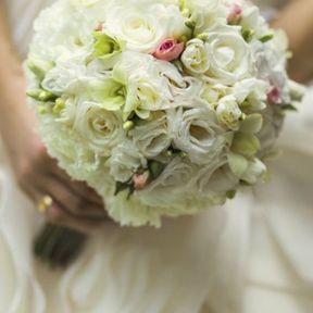 Bouquet mariée rond blanc