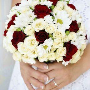 Bouquet mariée rouge et blanc