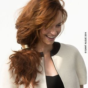 Coiffure cheveux attachés automne hiver 2015 @ Saint Algue