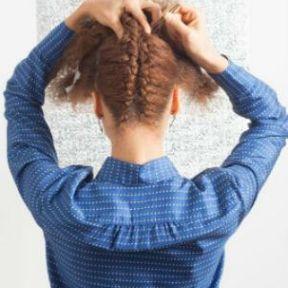 Coiffure pour cheveux crépus avec deux tresses partants de la nuque