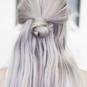 Demi-chignon sur cheveux longs et gris