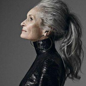 Idée coiffure cheveux gris