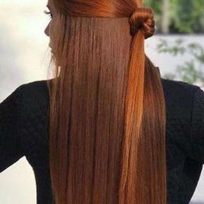 Coiffure cheveux longs roux