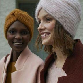 Coiffure hiver 2018 avec un turban en laine