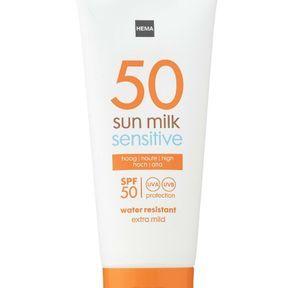 Lait solaire pour peaux sensibles d'Hema SPF 50
