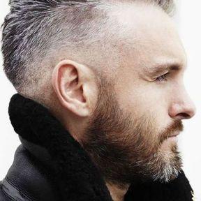 Beau gosse à barbe aux cheveux gris