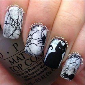 Nail art Halloween chat et araignée