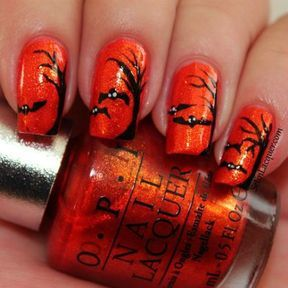 Nail art nuit orange