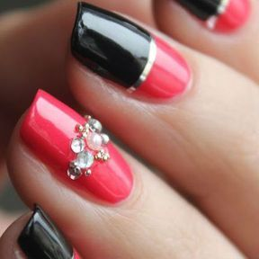 Nail art strass, or, rouge et noir