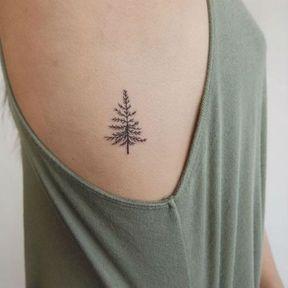 Tatouage minimaliste sapin