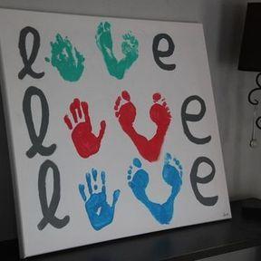 Tableau Love peinture mains/pieds