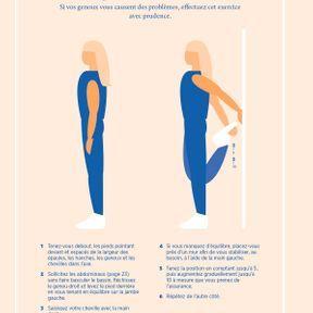 L'étirement des quadriceps en position debout