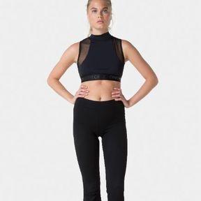 Crop top noir yoga Onepiece