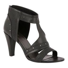 Sandales à talons en cuir noir Comptoir des cotonniers printemps été 2014
