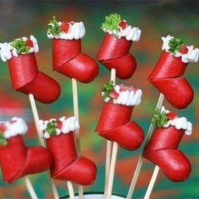 Bottes de Père Noël en saucisses