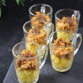 Verrines de foie gras, pommes et pain d'épices