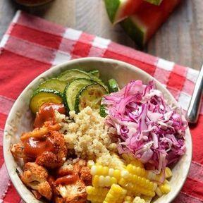 Quinoa, chou-fleur,maïs, chou rouge et courgette