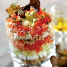 Verrine fraîcheur tomate, feta et concombre