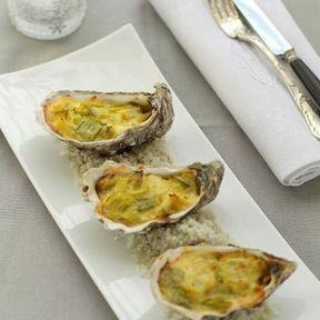 Huîtres aux poireaux gratinées