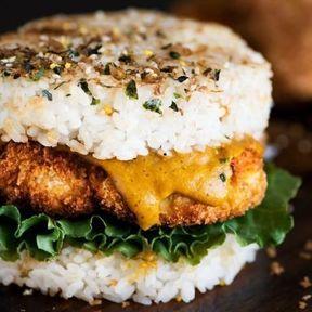 Burger chicken katsu rice