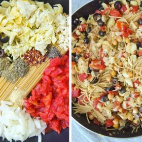 One pot pasta artichaut, pois chiches, olives et tomates