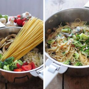 One pot pasta brocolis et champignons
