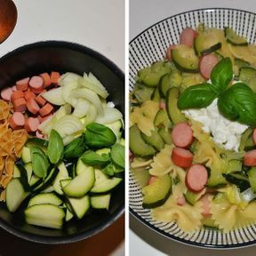 One pot pasta knakis, courgette et ricotta