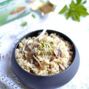 Risotto aux champignons et bouillon de légumes