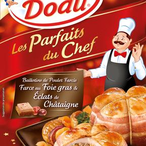 Ballotins de poulet farcis au foie gras et éclats de châtaigne, Père Dodu