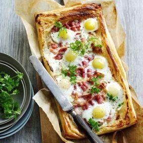Tarte aux œufs et au bacon