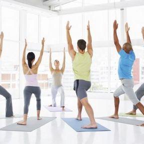 Pendant une session de yoga